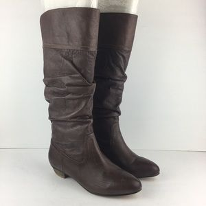 Nine West Tall Brown Slouchy Boots Size 7.5M